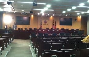 Main hearing room of the Montgomery County Council